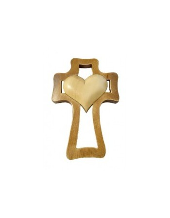 Kríž drevený - bledé srdce
