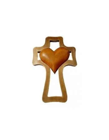 Kríž drevený - srdce hnedé